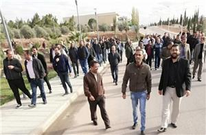 وقفة احتجاجية للعاملين في جامعة العلوم والتكنولوجيا