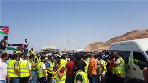 Aqaba Container Terminal  workers protest and demand permanent employment